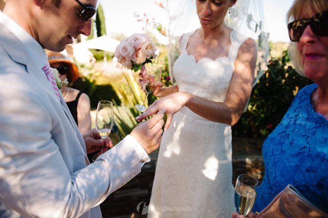 bride showing off wedding ring