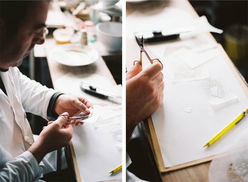 cutting stencils with scissors