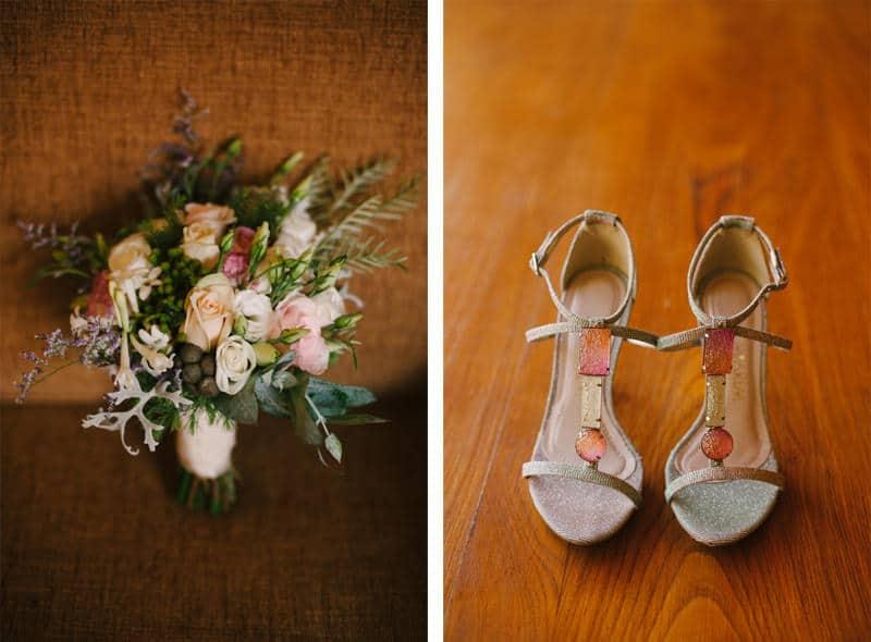 bride shoes and bouquet details