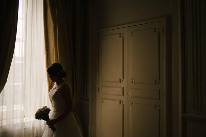 bride lit by window light