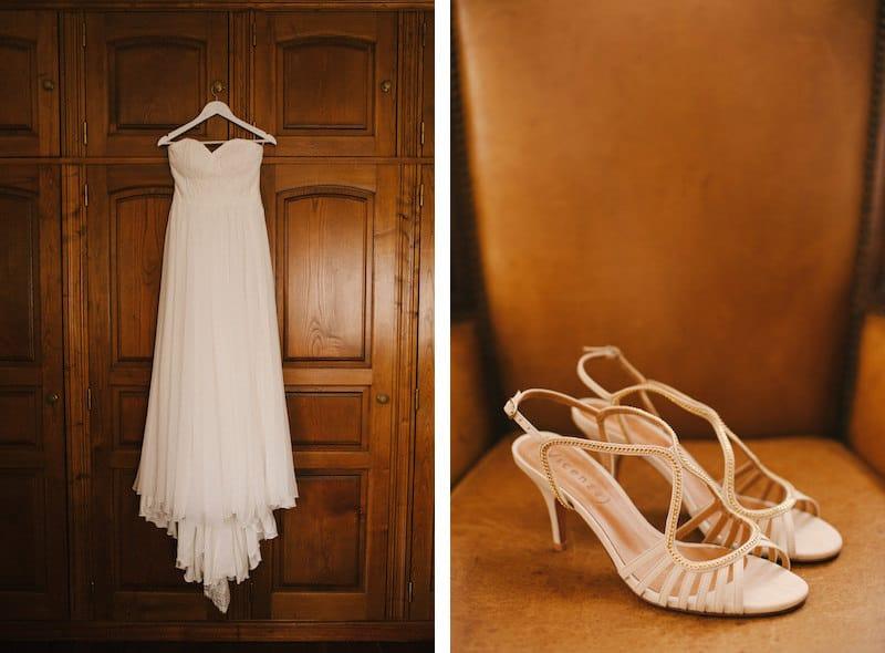 Vestido de noiva e sapatos