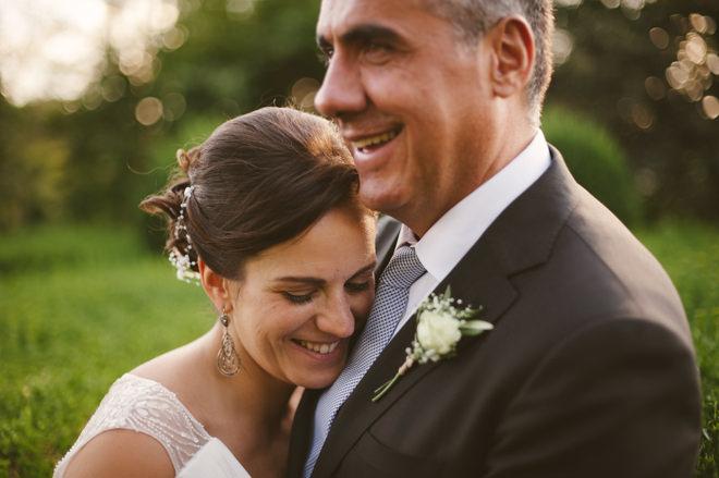 Fun portrait of bride and groom