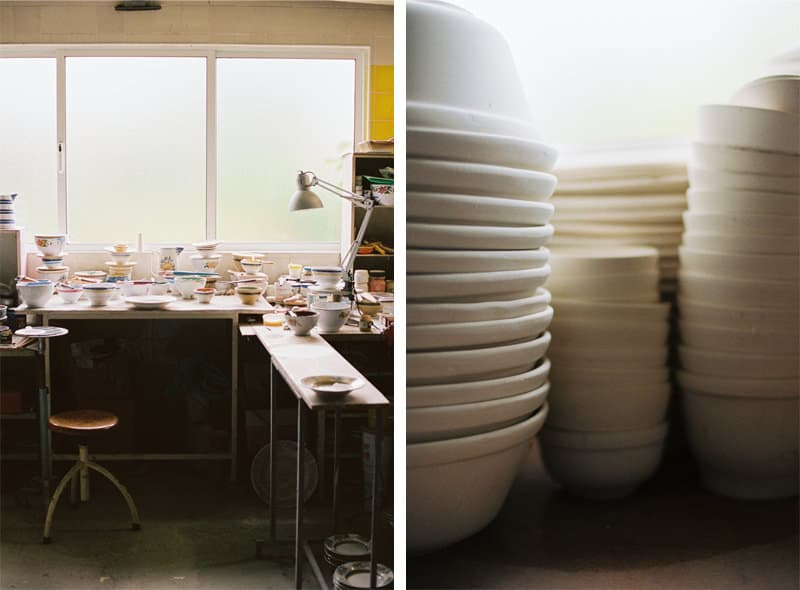 stacked raw ceramic bowls