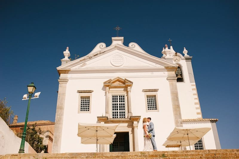 portrait of bride and groom at the church