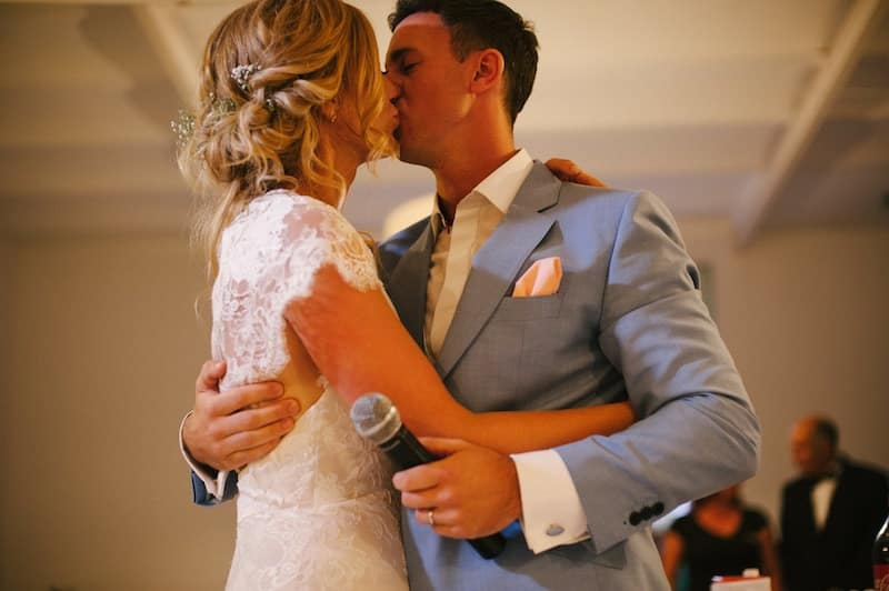 bride and groom kissing after speech