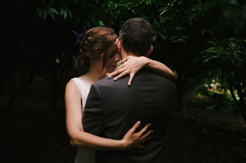 romantic portrait of bride and groom