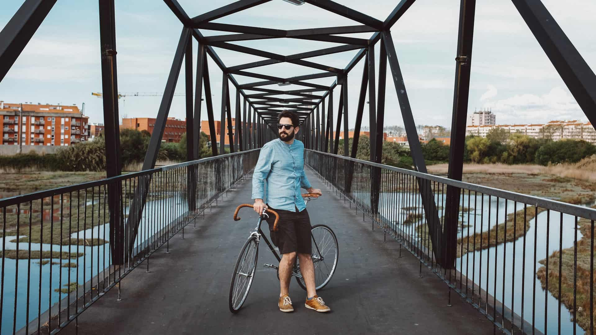 Fixed gear hipster portrait
