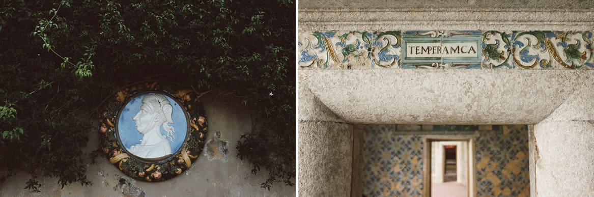 granite door frame and hand painted vintage tile details at quinta da bacalhoa wedding venue