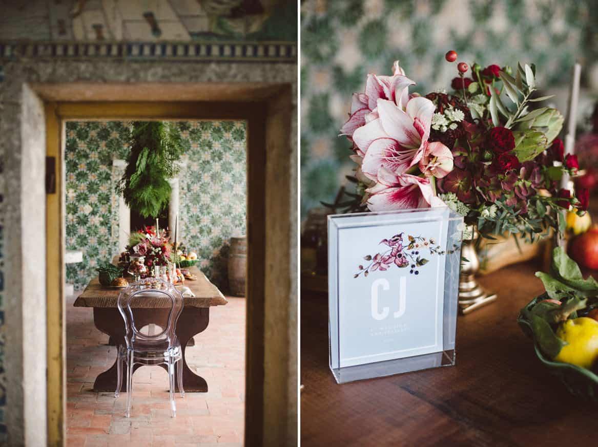 graphic design and table setting during inspiration shoot for a quinta da bacalhoa wedding venue