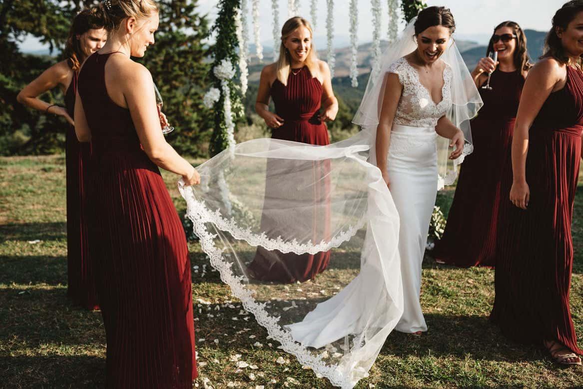 bride at villa di ulignano wedding