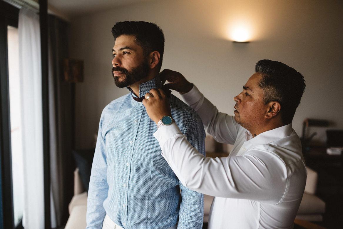 tasmania wedding photographer groom wearing bowtie