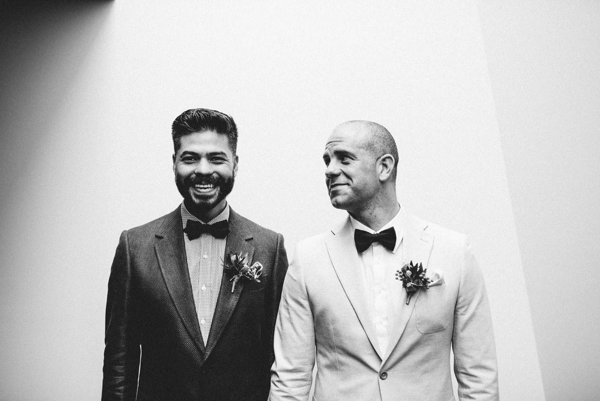 tasmania wedding photographer same sex wedding fist look reaction