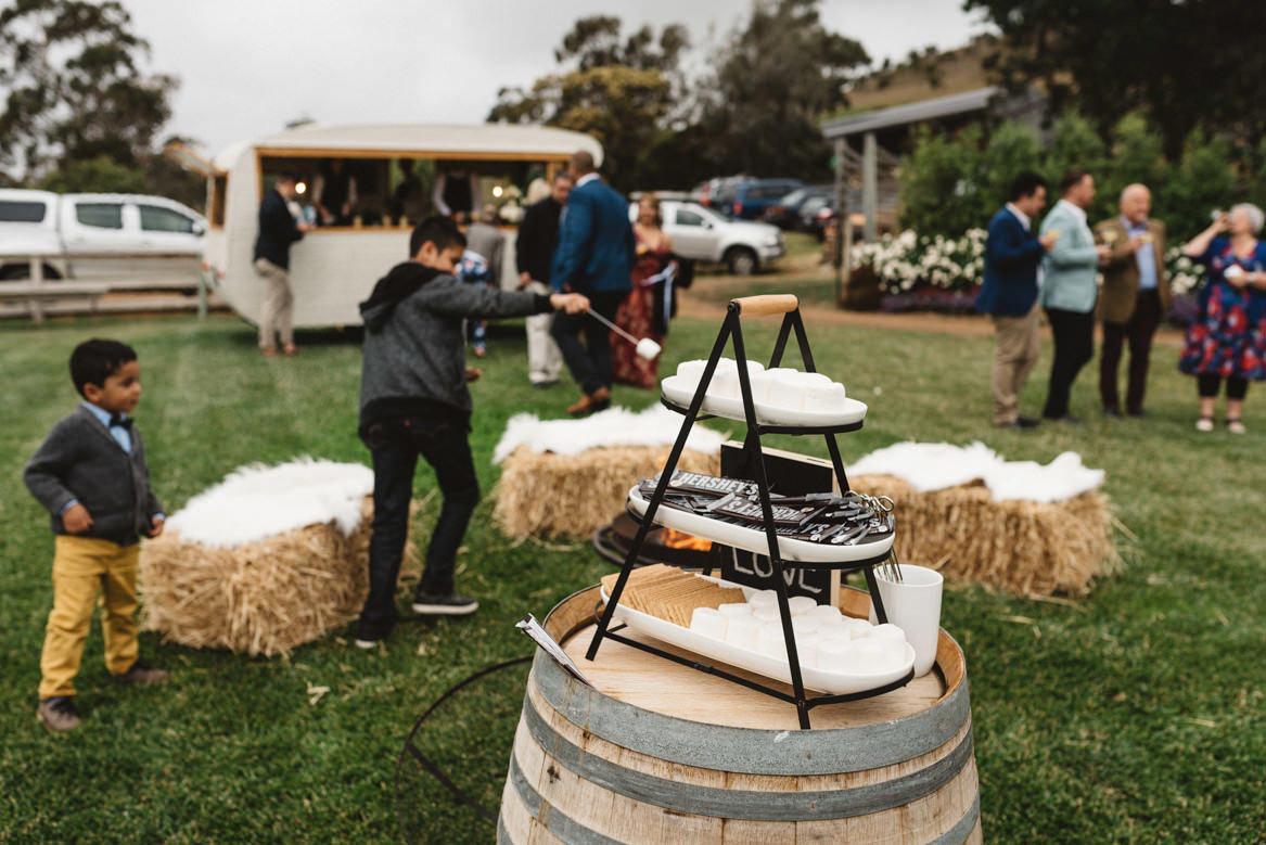 tasmania wedding photographer hershey's marshmallows and crackers s'mores