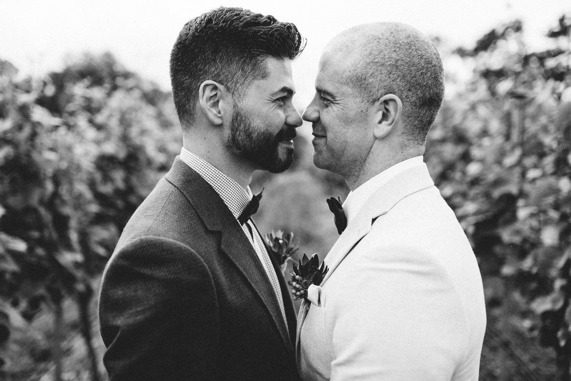 Tasmania wedding photographer black and white portrait of groom and groom same sex wedding