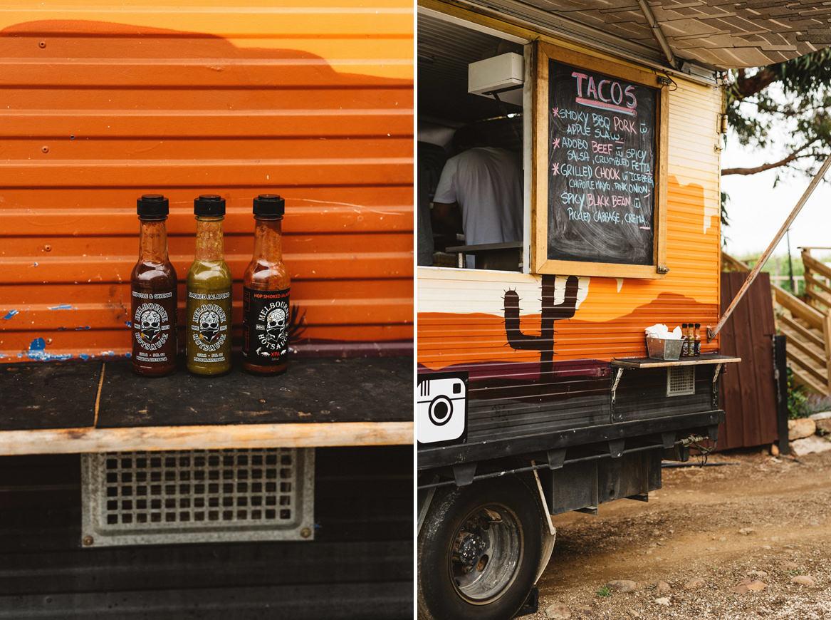 Tasmania wedding photographer details of taco truck and hot sauce