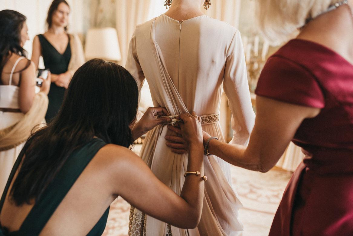 European Indian wedding bride getting ready