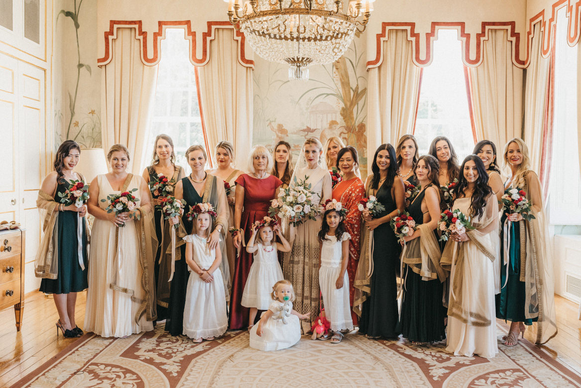 family portrait of a polish and indian wedding