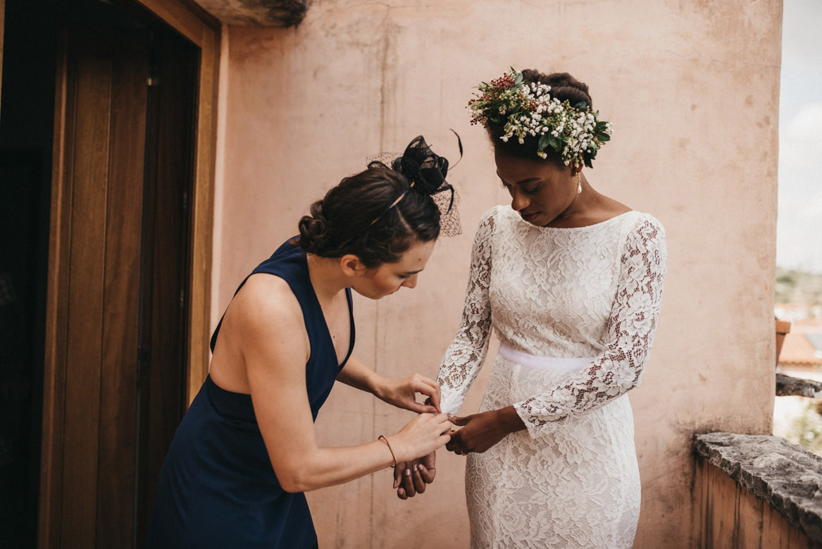 Bride getting ready with best friend