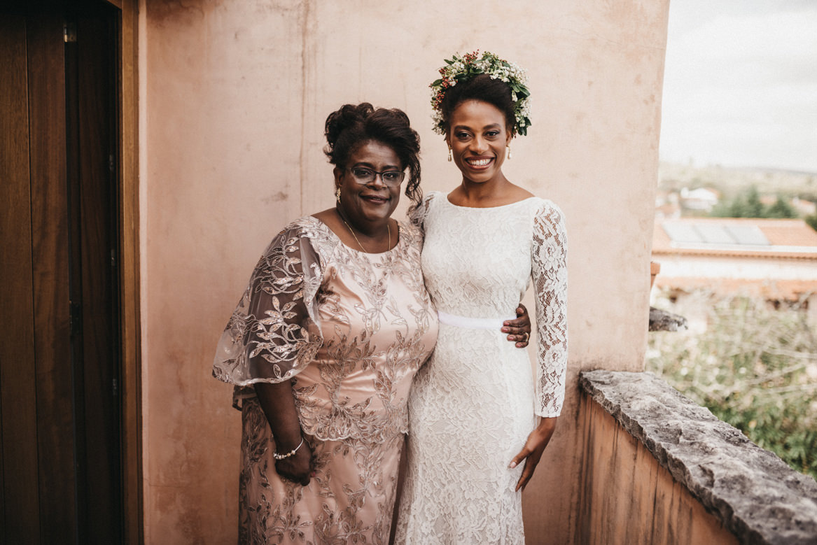 Bride with mother on formal portrait