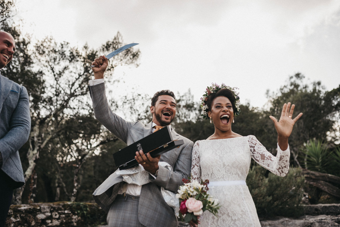 Bride and groom receive sword as wedding gift