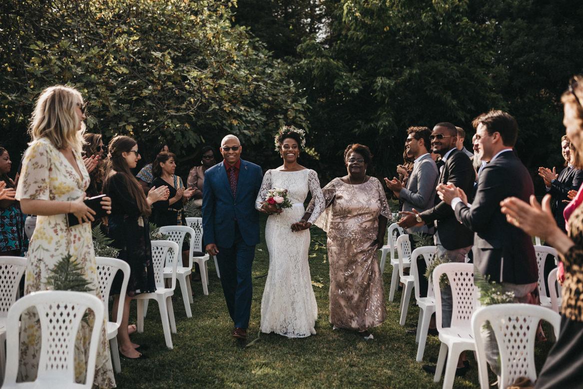 Bride entrance in outdoor ceremony