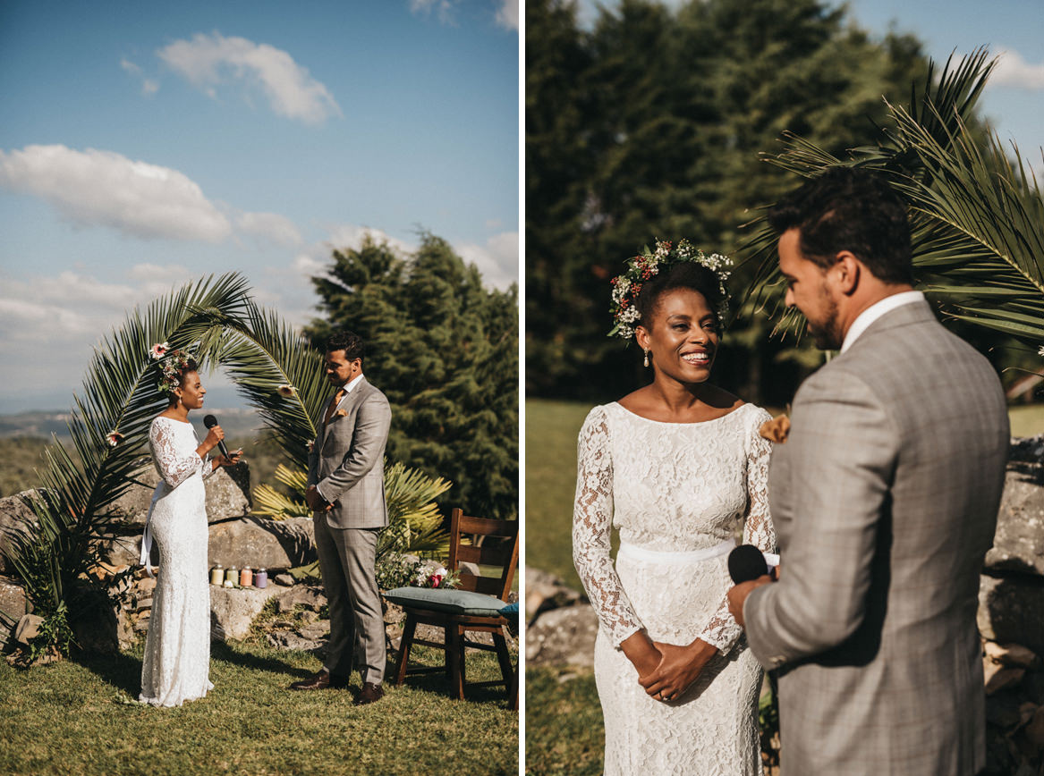 Bride and groom say their vows outdoor ceremony