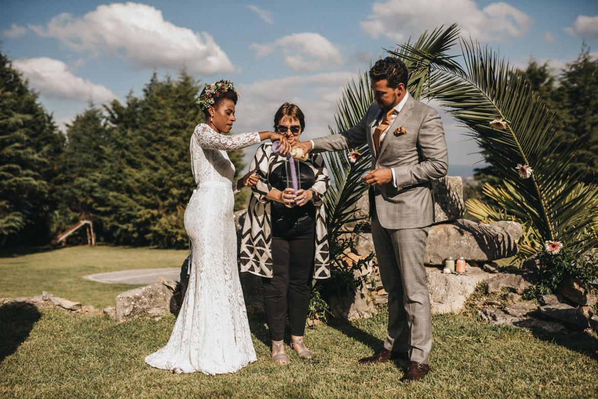 Sand ceremony in outdoor wedding