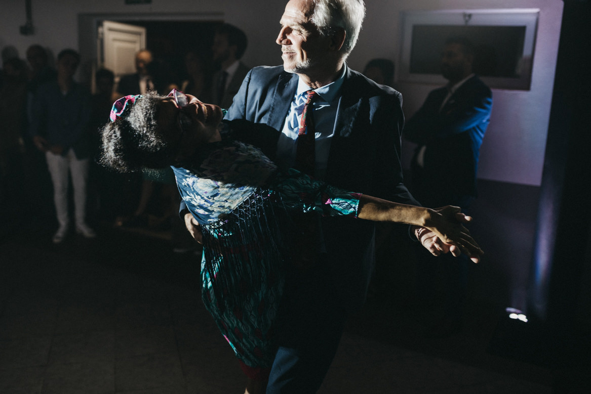 Parents of groom dancing at wedding