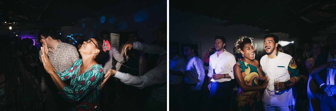Friends dancing at end of wedding
